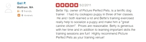 What kind of dog trainer is Bette Yip? See what previous students say!